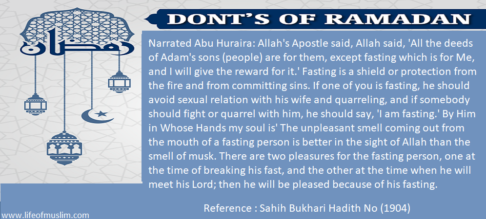 Fasting Is A Shield Or Protection From The Fire And From Committing Sins