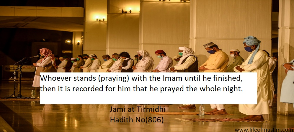 Whoever Stands (Praying) With The Imam Until He Finished
