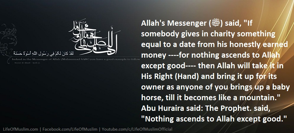 If Somebody Gives In Charity Then Allah Will Take It In His Right (Hand)